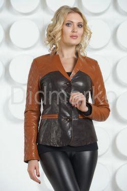 Оригинальная кожаная куртка  шоколадного цвета