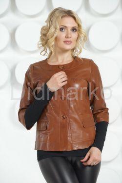 Кожаная куртка терракотового цвета на пуговицах