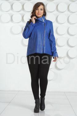 Стильная кожаная куртка синего цвета 2019
