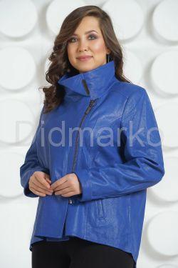 Стильная кожаная куртка синего цвета 2018