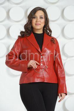 Красный кожаный пиджак больших размеров