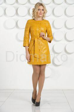 Желтый кожаный плащ