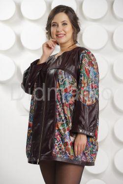 Кожаная куртка с принтом больших размеров