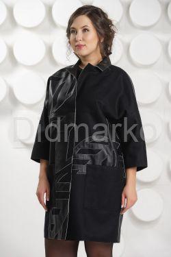 Стильный комбинированный кожаный плащ
