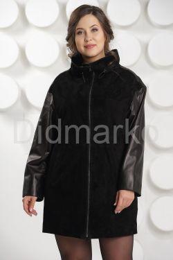 Комбинированная кожаная куртка на молнии