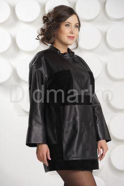 Женский комбинированный кожаный плащ