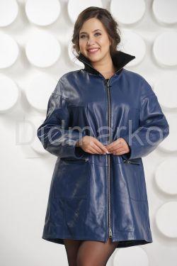 Удлиненная кожаная куртка больших размеров