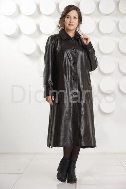 Длинный трапециевидный кожаный плащ больших размеров