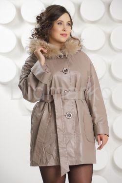 Удлиненная кожаная куртка бежевого цвета
