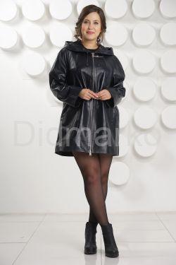 Удлиненная кожаная куртка с капюшоном больших размеров