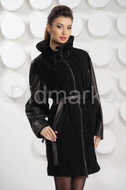 Комбинированный кожаный плащ 2017 черного цвета