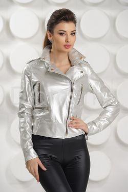 Серебристая кожаная куртка