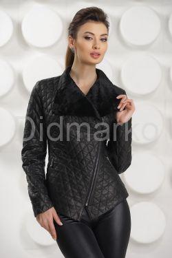 Стильная стеганная кожаная куртка
