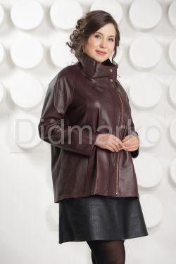 Короткая трапециевидная кожаная куртка