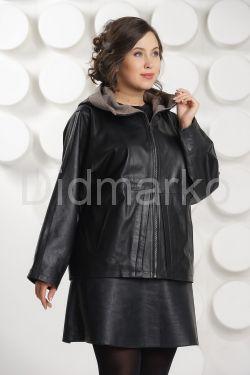 Итальянская кожаная куртка больших размеров с капюшоном