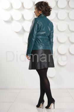 Красивая кожаная куртка больших размеров с поясом