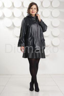 Кожаная куртка больших размеров с капюшоном