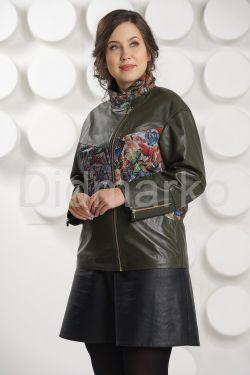Кожаная куртка с принтом оливкового цвета