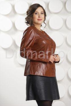 Кожаная куртка коричневого цвета
