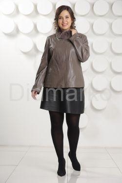 Женская кожаная куртка с мехом рекс