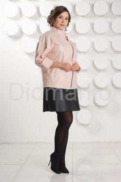 Розовая кожаная куртка больших размеров