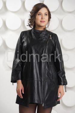 Удлиненная кожаная куртка на молнии