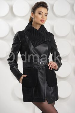 Удлиненная кожаная куртка с трикотажными карманами