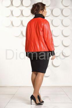 Кожаная куртка красного цвета больших размеров
