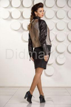 Комбинированная кожаная куртка для женщин