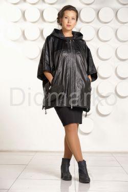 Кожаная куртка большого размера с капюшоном