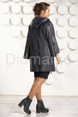 Женский кожаный плащ с капюшоном