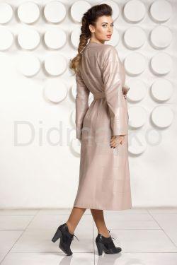 Светлое кожаное пальто ELIF