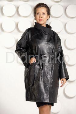Модный кожаный плащ больших размеров