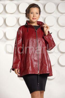 Бордовая кожаная куртка больших размеров
