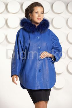 Зимняя кожаная куртка больших размеров цвета индиго