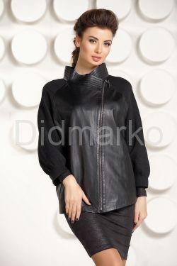 Кожаная куртка с трикотажными рукавами