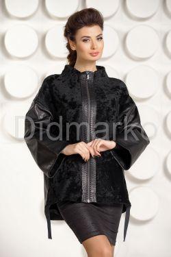 Кожаная куртка комбинированная астраганом