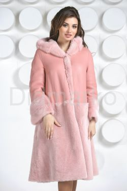 Розовая двусторонняя дубленка