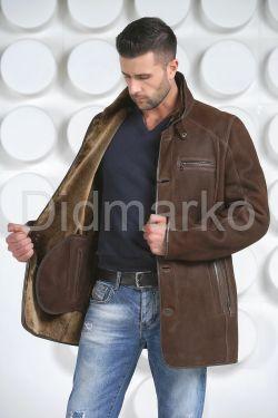 Мужская дубленка коричневого цвета