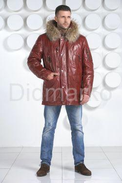 Удлиненный мужской пуховик цвета бордо