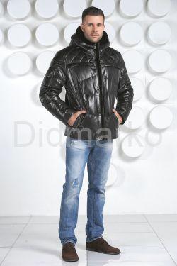 Мужской кожаный пуховик черного цвета