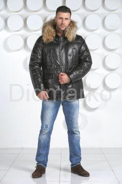 Короткий кожаный пуховик