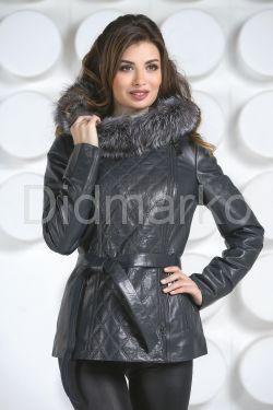 Удлиненная кожаная куртка синего цвета