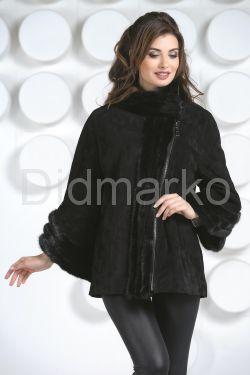 Женская куртка автоледи из натуральной замши больших размеров