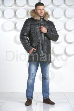 Мужской кожаный пуховик