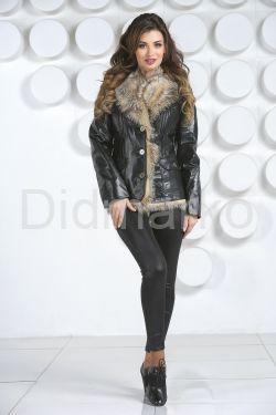 Утепленный кожаный пиджак с мехом