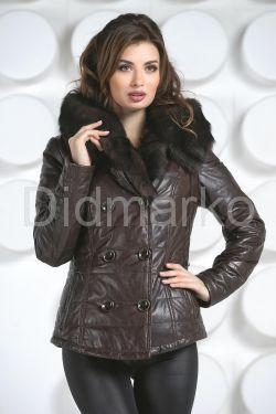 Укороченная женская куртка с мехом тоскана