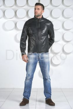 Мужская кожаная куртка синего цвета