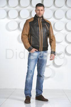 Комбинированная мужская кожаная куртка