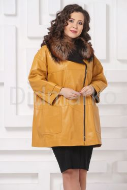 Кожаное пальто горчичного цвета